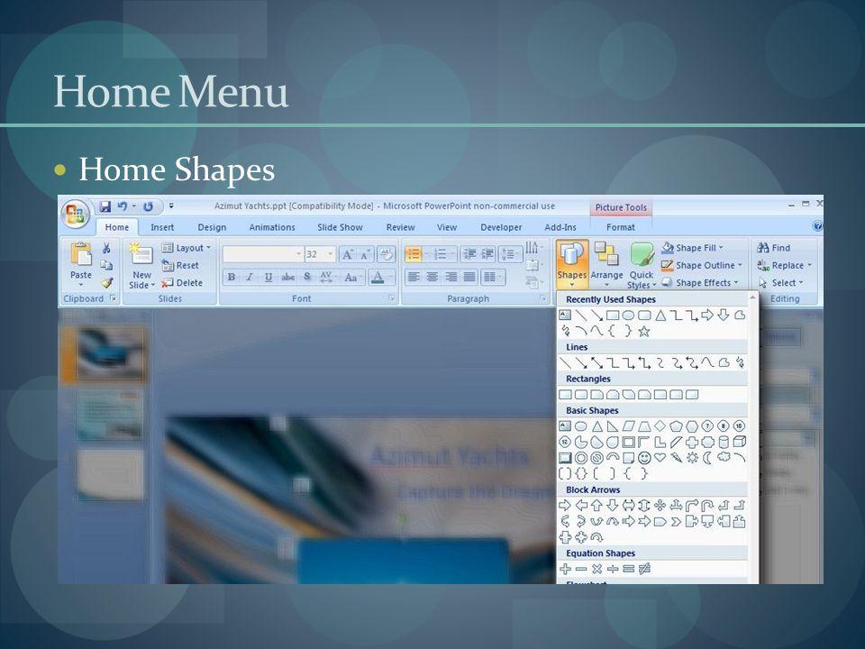 Home Menu Home Shapes