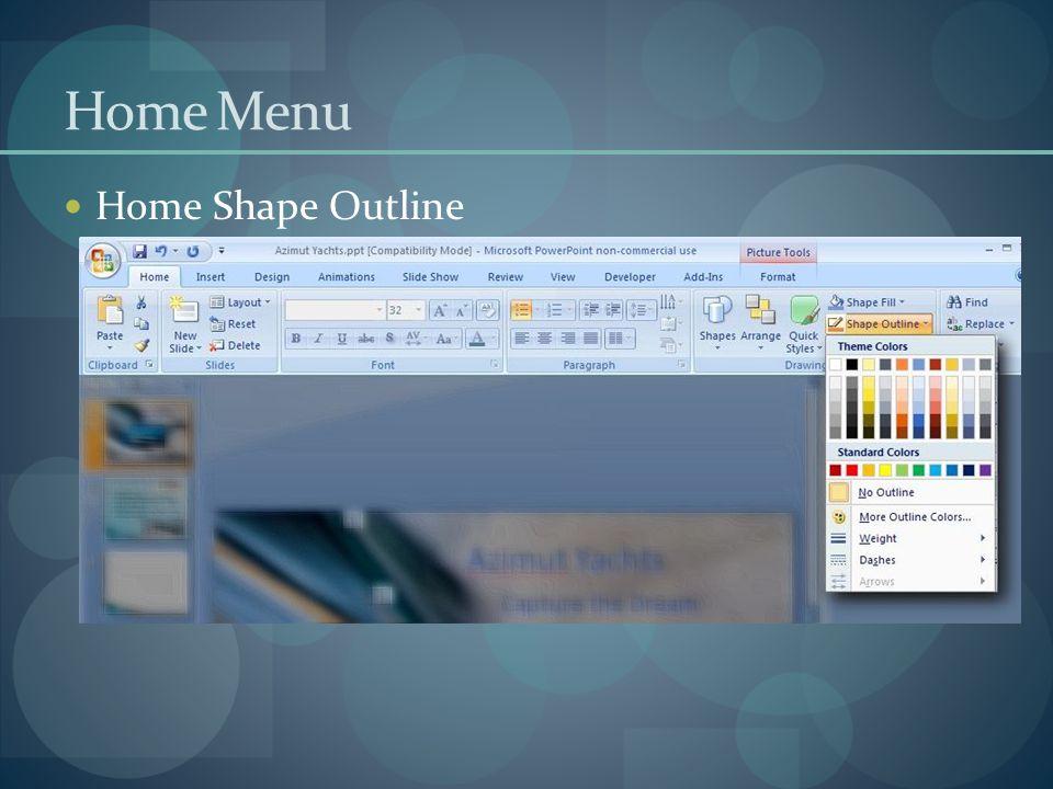 Home Menu Home Shape Outline