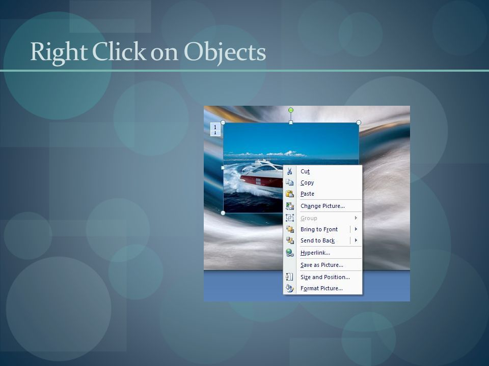 Right Click on Objects