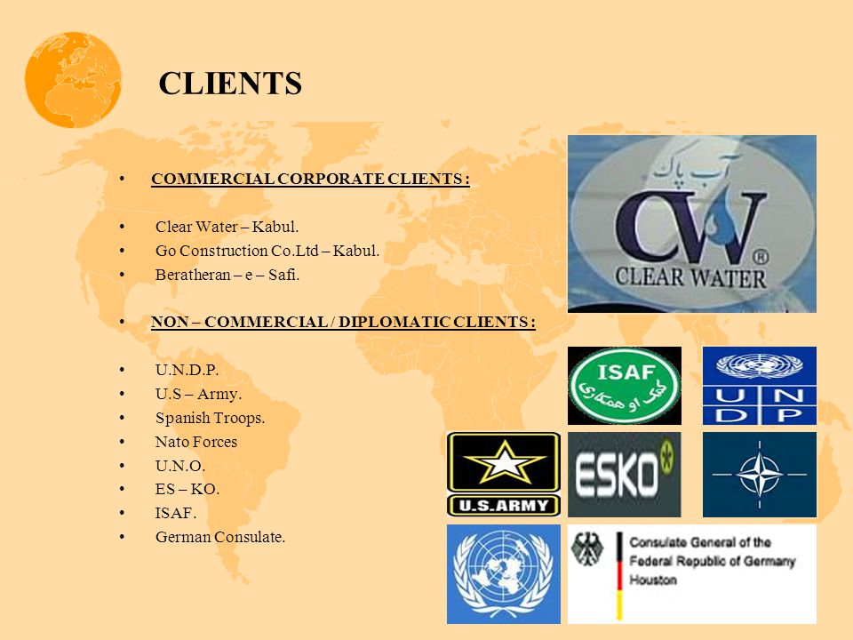 CLIENTS COMMERCIAL CORPORATE CLIENTS : Clear Water – Kabul.