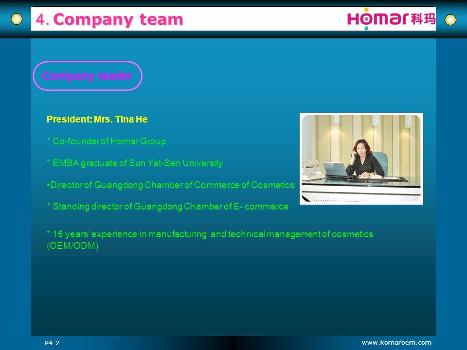 www.komaroem.com 4. Company team P4-2 President: Mrs. Tina He * Co-founder of Homar Group * EMBA graduate of Sun Yat-Sen University Director of Guangd