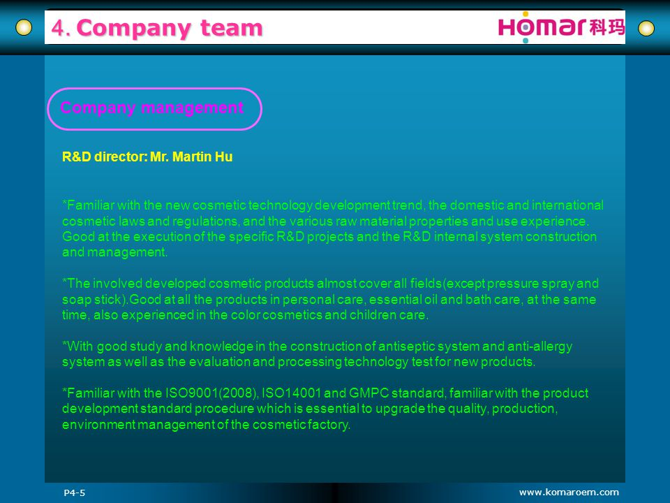 www.komaroem.com 4. Company team P4-5 *Familiar with the new cosmetic technology development trend, the domestic and international cosmetic laws and r