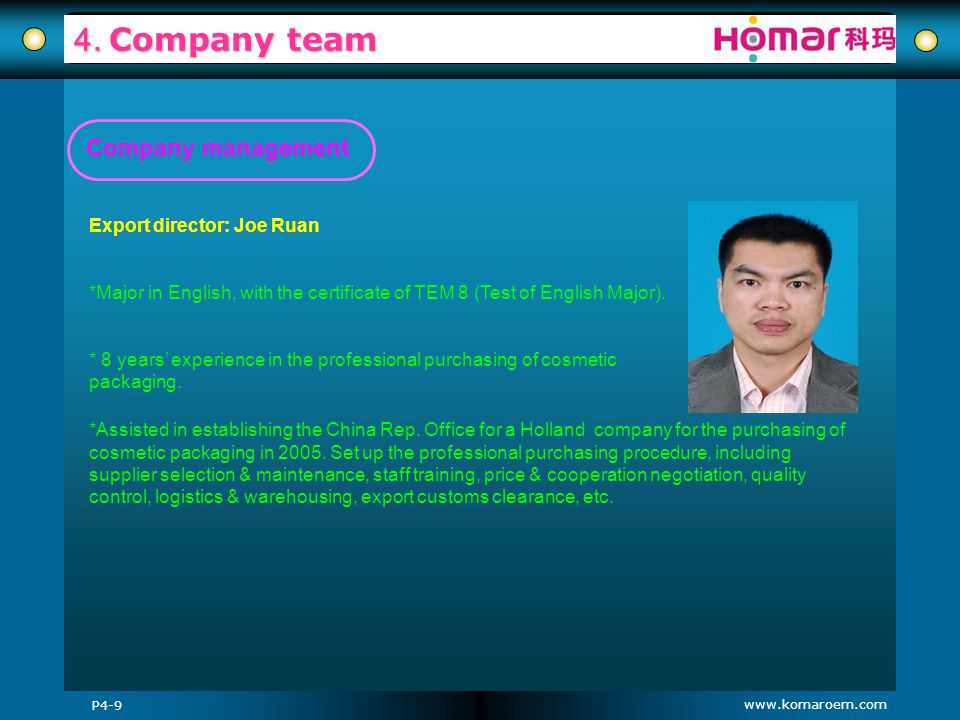 www.komaroem.com 4. Company team Export director: Joe Ruan *Major in English, with the certificate of TEM 8 (Test of English Major). * 8 years experie