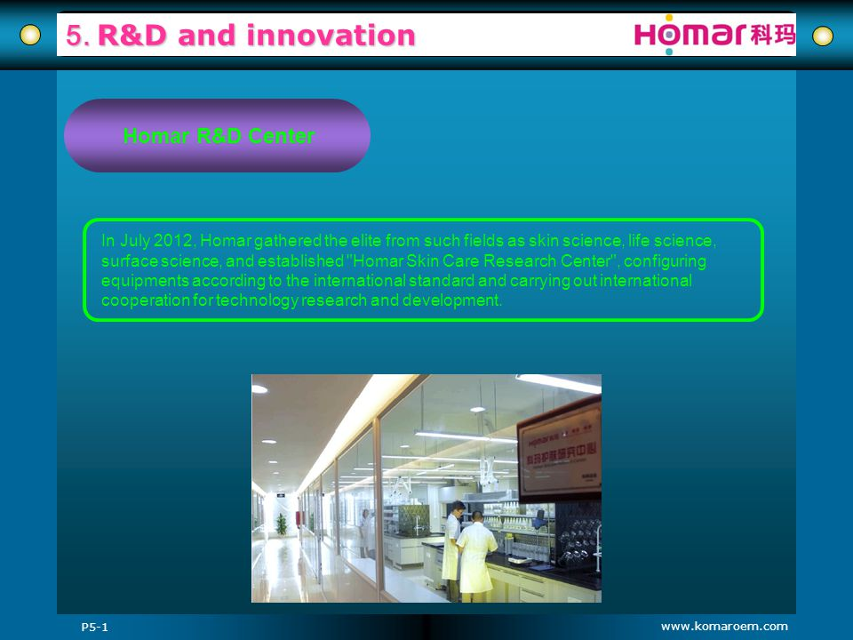 www.komaroem.com 5. R&D and innovation In July 2012, Homar gathered the elite from such fields as skin science, life science, surface science, and est