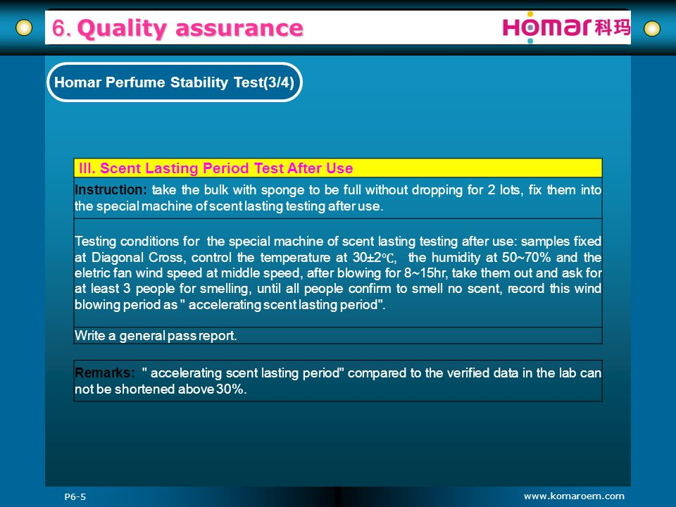 www.komaroem.com 6. Quality assurance P6-5 Homar Perfume Stability Test(3/4) III. Scent Lasting Period Test After Use Instruction: take the bulk with