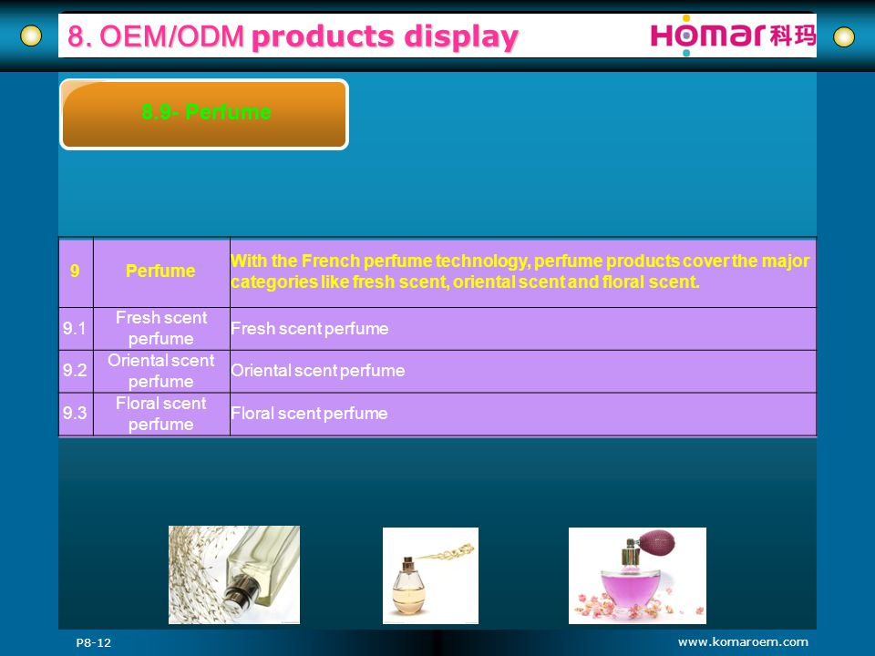 www.komaroem.com 8. OEM/ODM products display P8-12 8.9- Perfume 9Perfume With the French perfume technology, perfume products cover the major categori