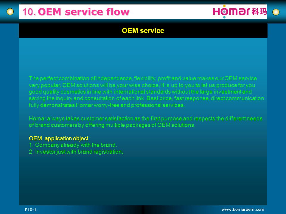 www.komaroem.com 10. OEM service flow OEM service The perfect combination of independence, flexibility, profit and value makes our OEM service very po