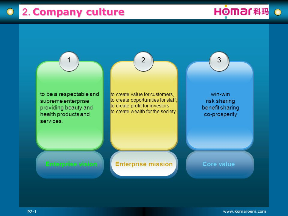 www.komaroem.com 2. Company culture P2-1 3 Core value win-win risk sharing benefit sharing co-prosperity 12 Enterprise visionEnterprise mission to be