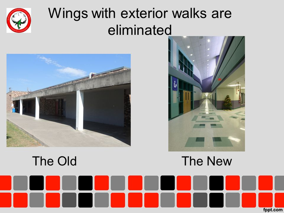 Wings with exterior walks are eliminated The OldThe New
