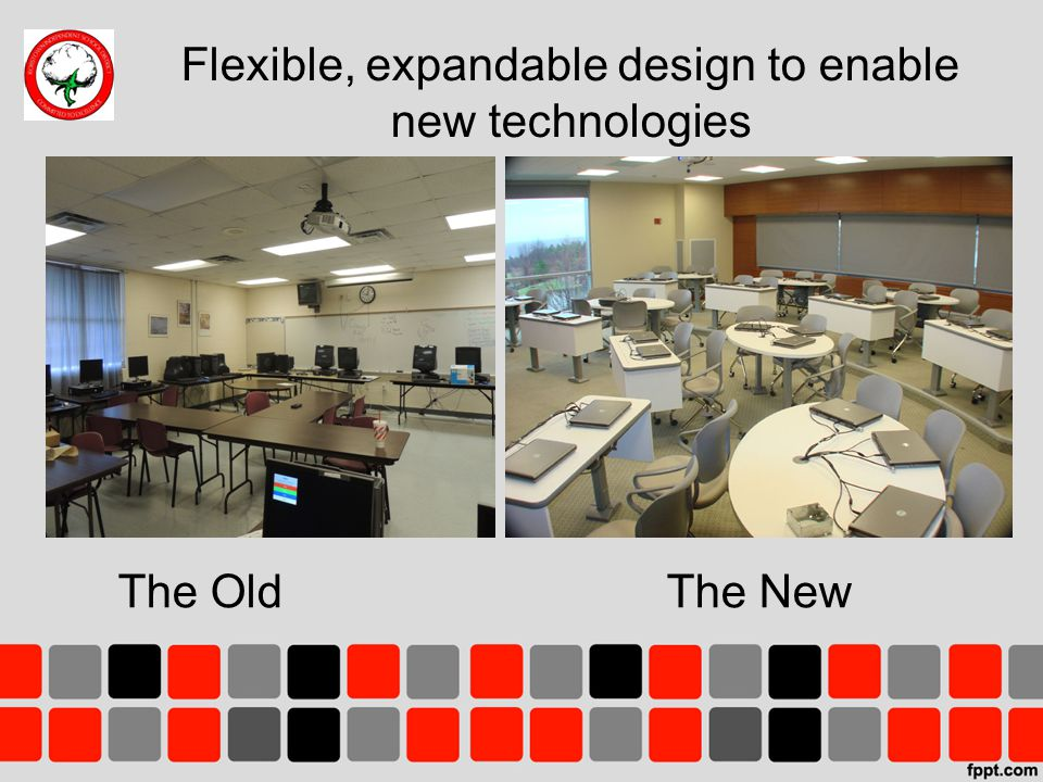 Flexible, expandable design to enable new technologies The OldThe New Place picture of existing computer lab