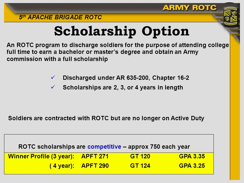 5 th APACHE BRIGADE ROTC Scholarship Option An ROTC program to discharge soldiers for the purpose of attending college full time to earn a bachelor or masters degree and obtain an Army commission with a full scholarship üDischarged under AR 635-200, Chapter 16-2 üScholarships are 2, 3, or 4 years in length Soldiers are contracted with ROTC but are no longer on Active Duty ROTC scholarships are competitive – approx 750 each year Winner Profile (3 year): APFT 271GT 120GPA 3.35 ( 4 year):APFT 290GT 124GPA 3.25