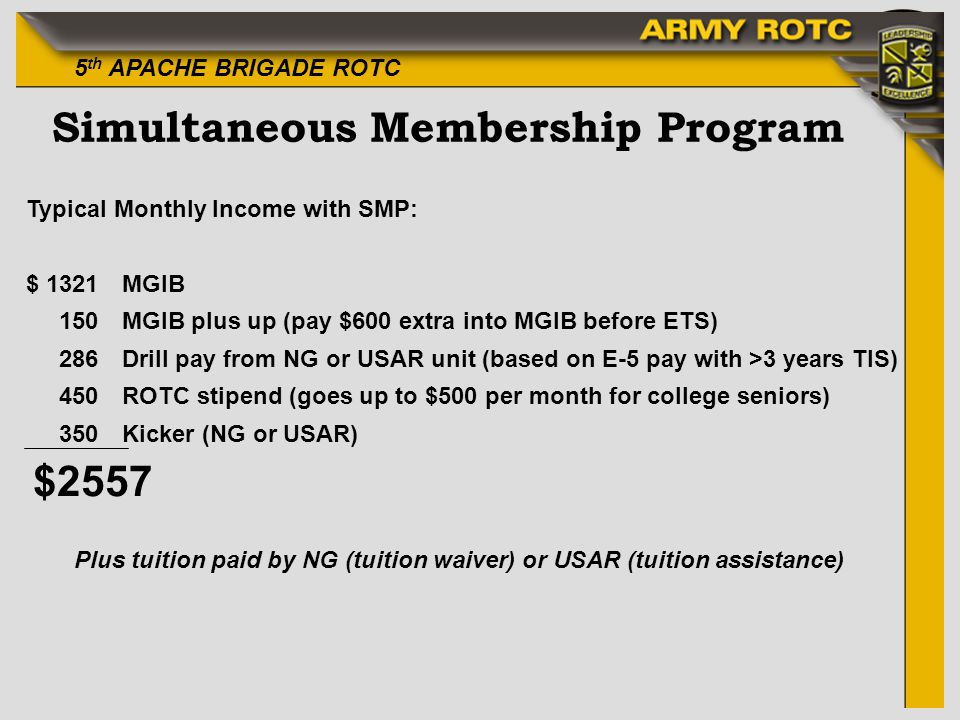 5 th APACHE BRIGADE ROTC Simultaneous Membership Program Typical Monthly Income with SMP: $ 1321MGIB 150MGIB plus up (pay $600 extra into MGIB before ETS) 286Drill pay from NG or USAR unit (based on E-5 pay with >3 years TIS) 450ROTC stipend (goes up to $500 per month for college seniors) 350Kicker (NG or USAR) $2557 Plus tuition paid by NG (tuition waiver) or USAR (tuition assistance)