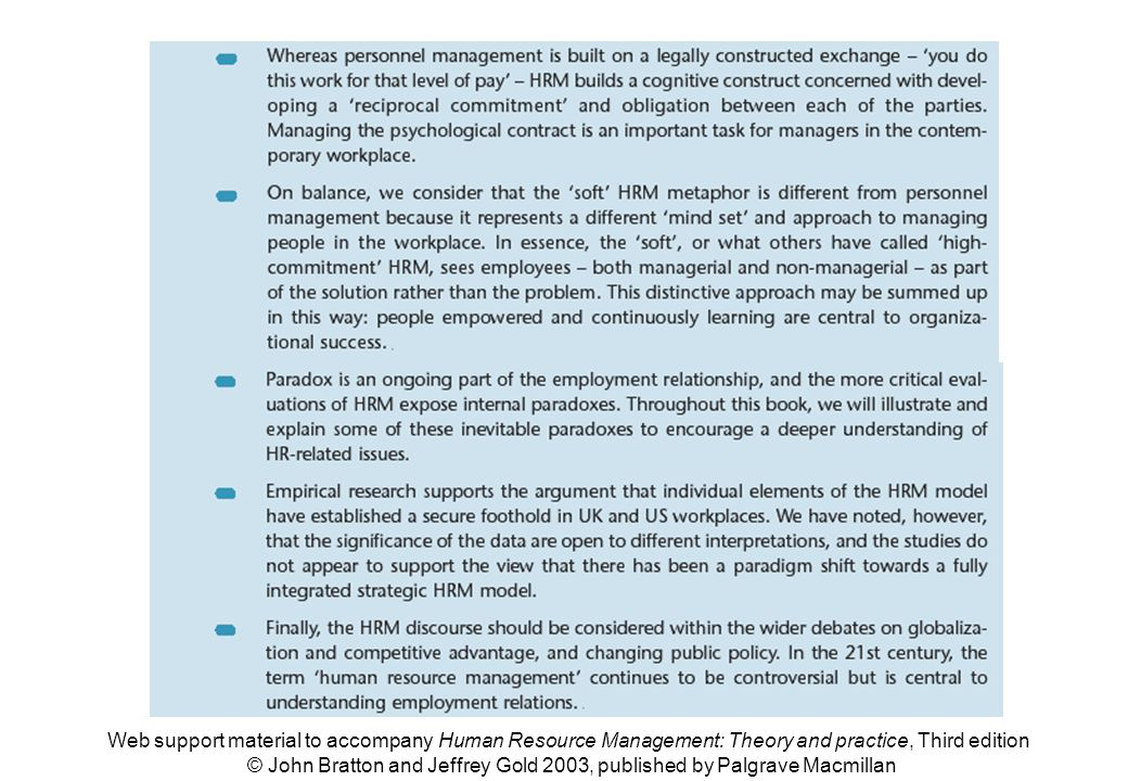 Web support material to accompany Human Resource Management: Theory and practice, Third edition © John Bratton and Jeffrey Gold 2003, published by Pal