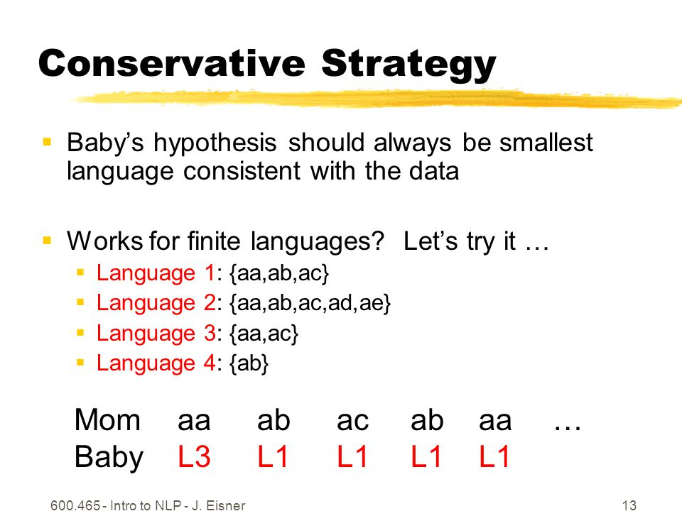 600.465 - Intro to NLP - J. Eisner13 Conservative Strategy Babys hypothesis should always be smallest language consistent with the data Works for fini