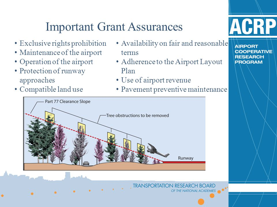 Exclusive rights prohibition Maintenance of the airport Operation of the airport Protection of runway approaches Compatible land use Availability on f