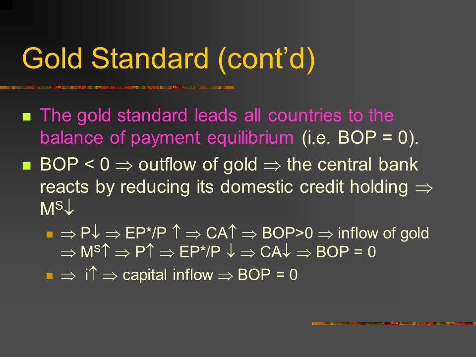 Gold Standard (contd) So, the system hit by shock will restore the equilibrium.