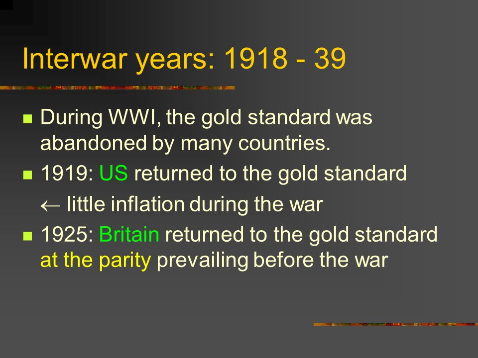 Britains case M S during and after the war P So, Britain had to have contractionary monetary policies unemployment economic stagnation in 1920s Londons decline as intl financial center Pound holders lost confidence in pounds and began converting their pound to gold a run on British gold reserves 1931 Britain was forced to abandon the gold standard