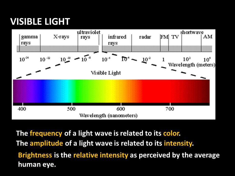 VISIBLE LIGHT There is a narrow section of the EM spectrum that human can see.