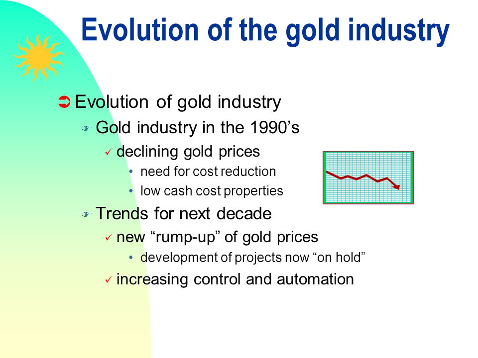 Evolution of the gold industry Evolution of gold industry F Gold industry in the 1990s declining gold prices need for cost reduction low cash cost pro