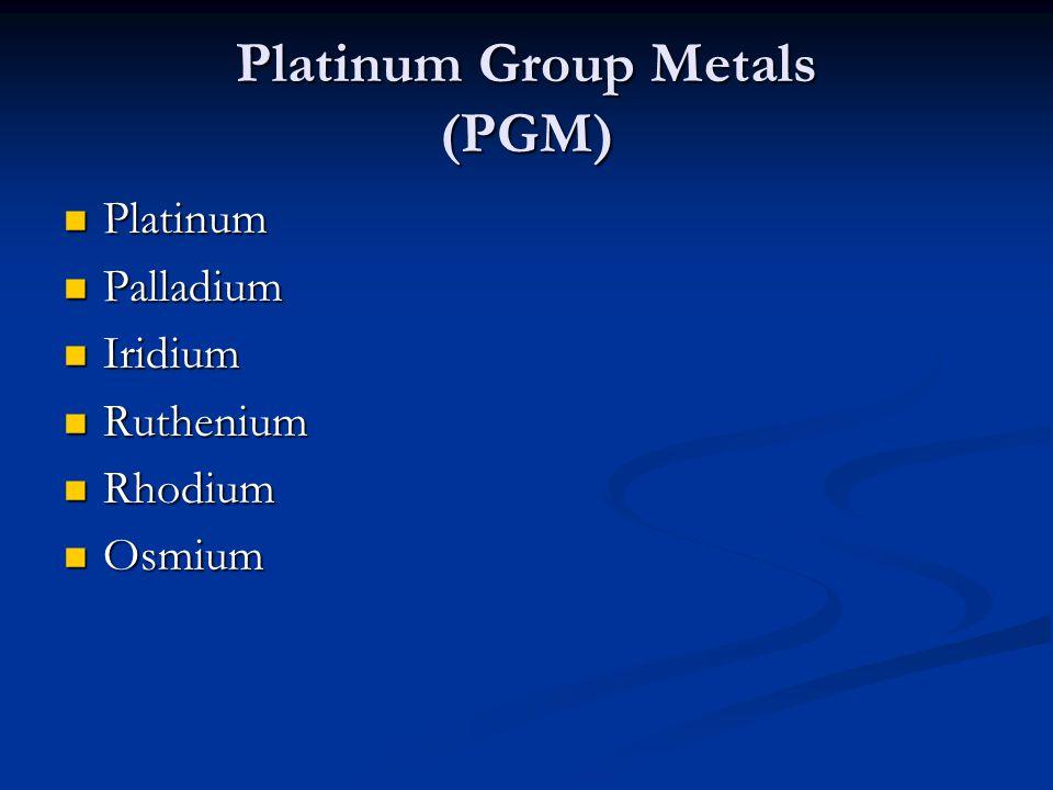 Platinum Group Metals (PGM) Platinum Platinum Palladium Palladium Iridium Iridium Ruthenium Ruthenium Rhodium Rhodium Osmium Osmium