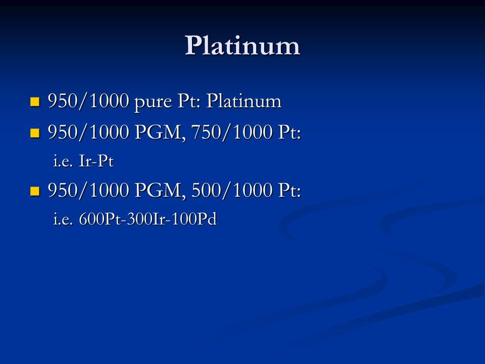 Platinum 950/1000 pure Pt: Platinum 950/1000 pure Pt: Platinum 950/1000 PGM, 750/1000 Pt: 950/1000 PGM, 750/1000 Pt: i.e. Ir-Pt 950/1000 PGM, 500/1000