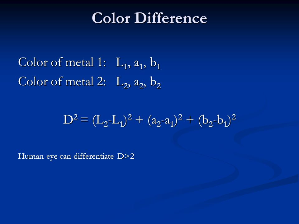 Color Difference Color of metal 1: L 1, a 1, b 1 Color of metal 2: L 2, a 2, b 2 D 2 = (L 2 -L 1 ) 2 + (a 2 -a 1 ) 2 + (b 2 -b 1 ) 2 Human eye can dif