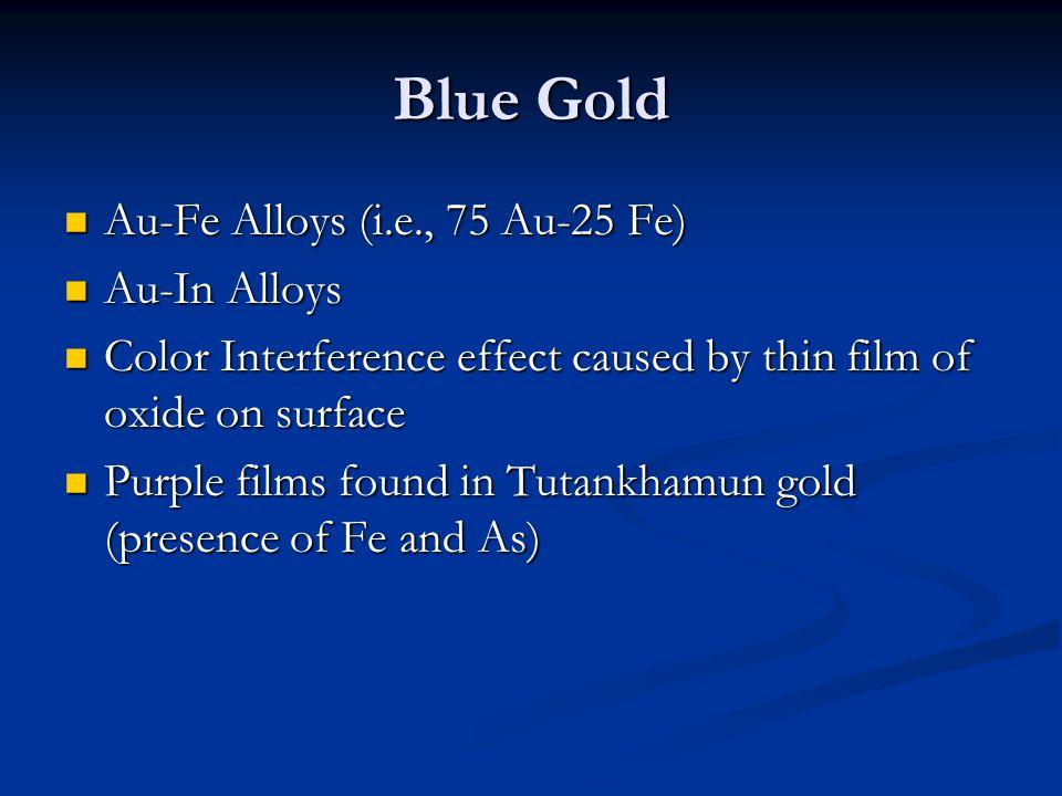 Blue Gold Au-Fe Alloys (i.e., 75 Au-25 Fe) Au-Fe Alloys (i.e., 75 Au-25 Fe) Au-In Alloys Au-In Alloys Color Interference effect caused by thin film of