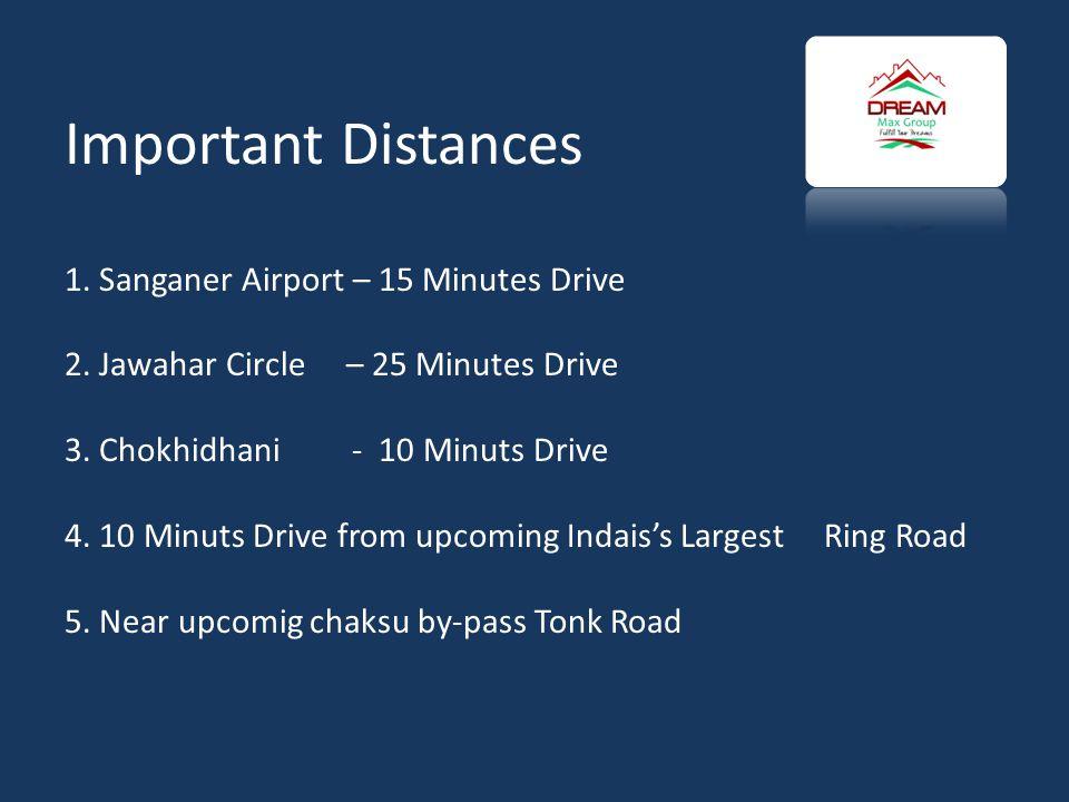 Important Distances 1.Sanganer Airport – 15 Minutes Drive 2.