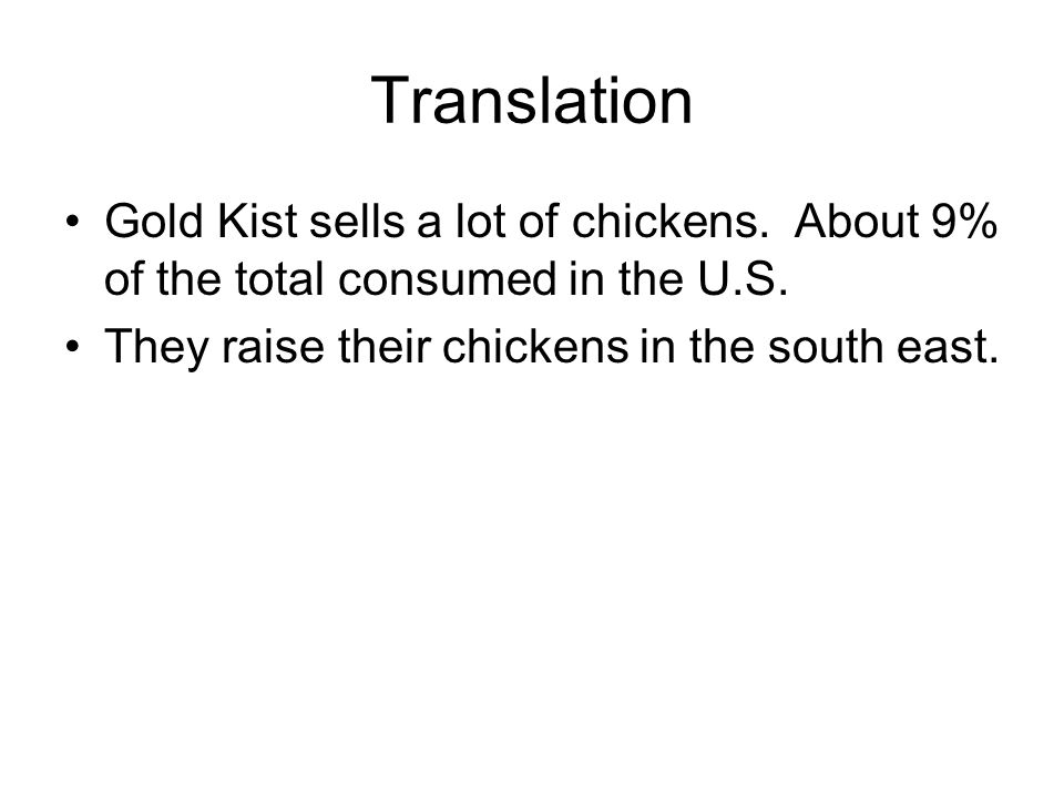 Translation Gold Kist sells a lot of chickens. About 9% of the total consumed in the U.S. They raise their chickens in the south east.