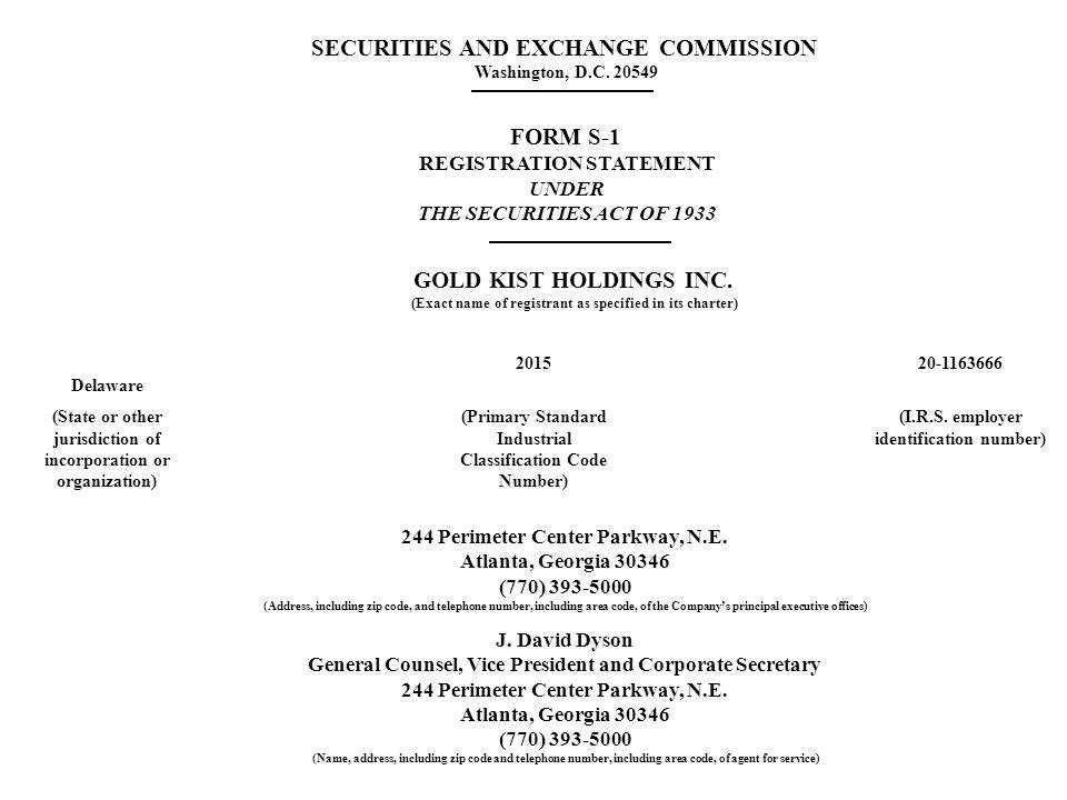 18,000,000 Shares Gold Kist Holdings Inc.