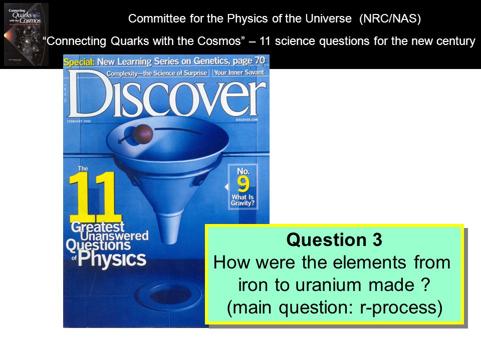 Observed Nuclei in the Universe: Hydrogen: Mass number = 1 Helium: Mass number = 4 91.0% 8.9% What is the universe made of.
