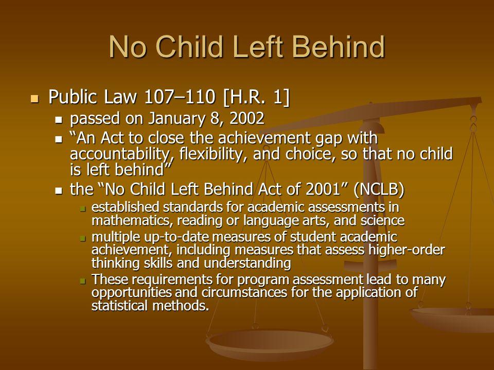 No Child Left Behind Public Law 107–110 [H.R. 1] Public Law 107–110 [H.R. 1] passed on January 8, 2002 passed on January 8, 2002 An Act to close the a