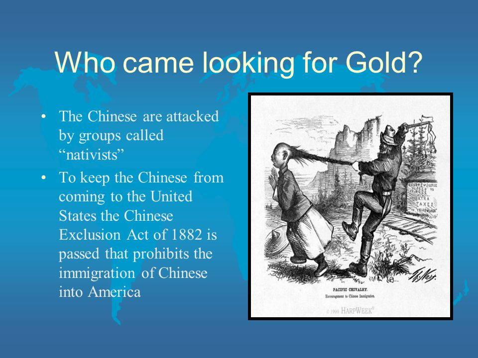 Who came looking for Gold? The Chinese are attacked by groups called nativists To keep the Chinese from coming to the United States the Chinese Exclus