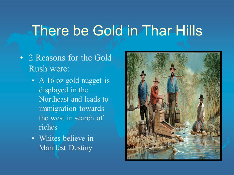 There be Gold in Thar Hills 2 Reasons for the Gold Rush were: A 16 oz gold nugget is displayed in the Northeast and leads to immigration towards the west in search of riches Whites believe in Manifest Destiny
