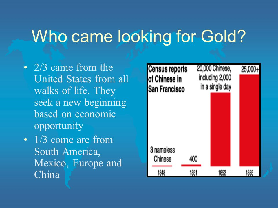 Who came looking for Gold? 2/3 came from the United States from all walks of life. They seek a new beginning based on economic opportunity 1/3 come ar