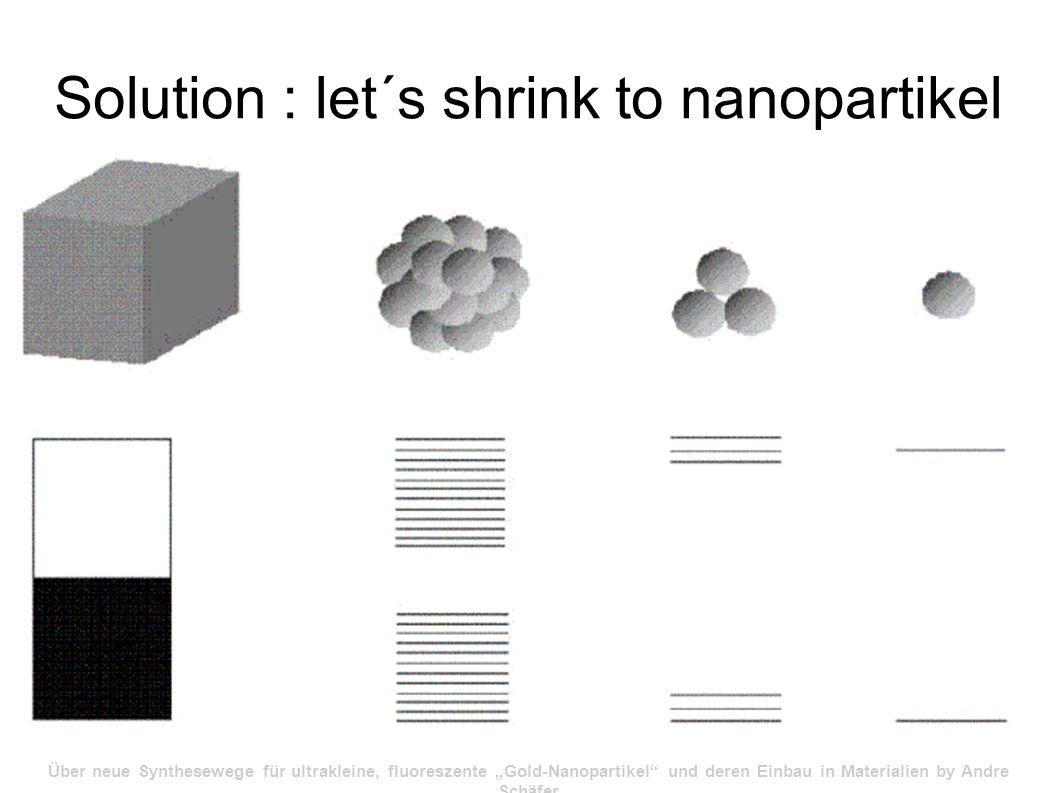 Solution : let´s shrink to nanopartikel Über neue Synthesewege für ultrakleine, fluoreszente Gold-Nanopartikel und deren Einbau in Materialien by Andre Schäfer