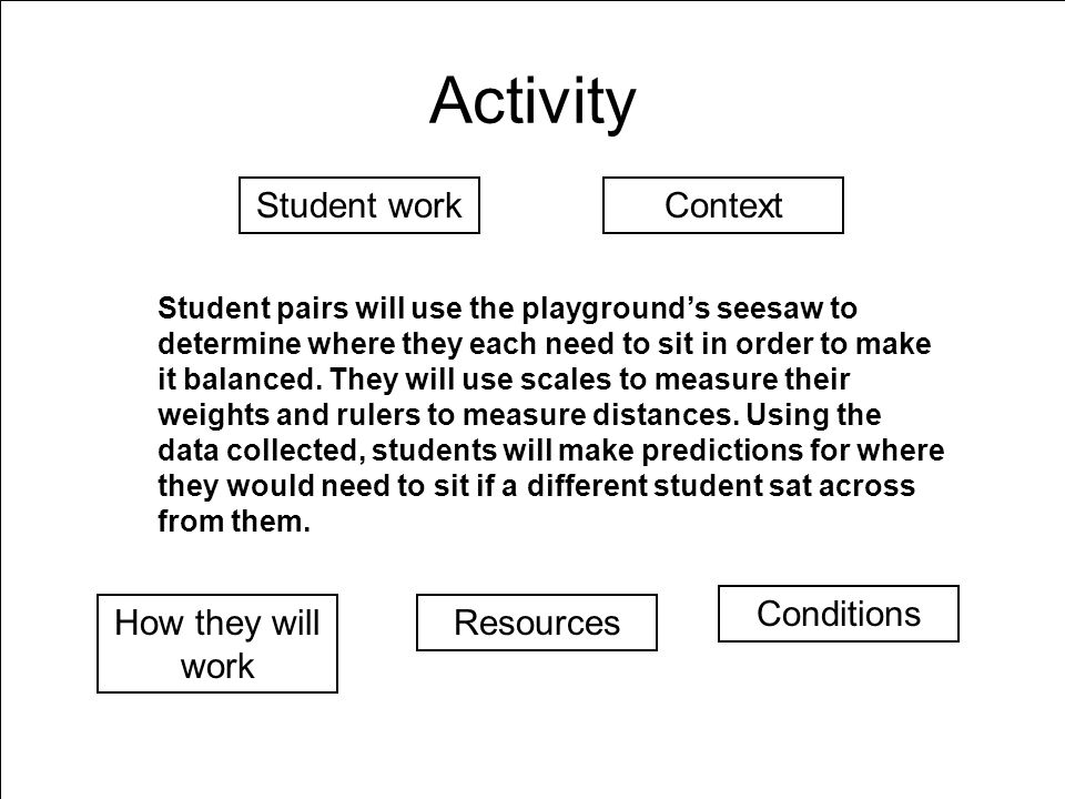 Activity Student pairs will use the playgrounds seesaw to determine where they each need to sit in order to make it balanced.
