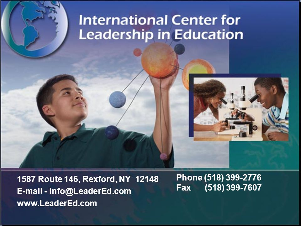 1587 Route 146, Rexford, NY 12148 E-mail - info@LeaderEd.com www.LeaderEd.com Phone (518) 399-2776 Fax (518) 399-7607