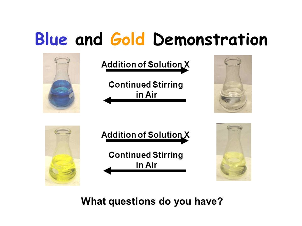 Addition of Solution X Continued Stirring in Air What questions do you have.