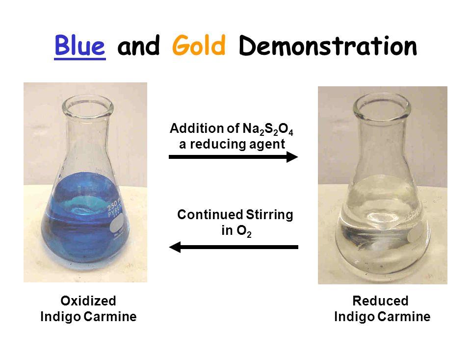 Blue and Gold Demonstration Addition of Na 2 S 2 O 4 a reducing agent Continued Stirring in O 2 Oxidized Indigo Carmine Reduced Indigo Carmine
