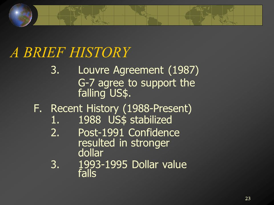 23 A BRIEF HISTORY 3.Louvre Agreement (1987) G-7 agree to support the falling US$.