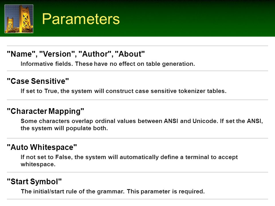 Parameters Name , Version , Author , About Informative fields.