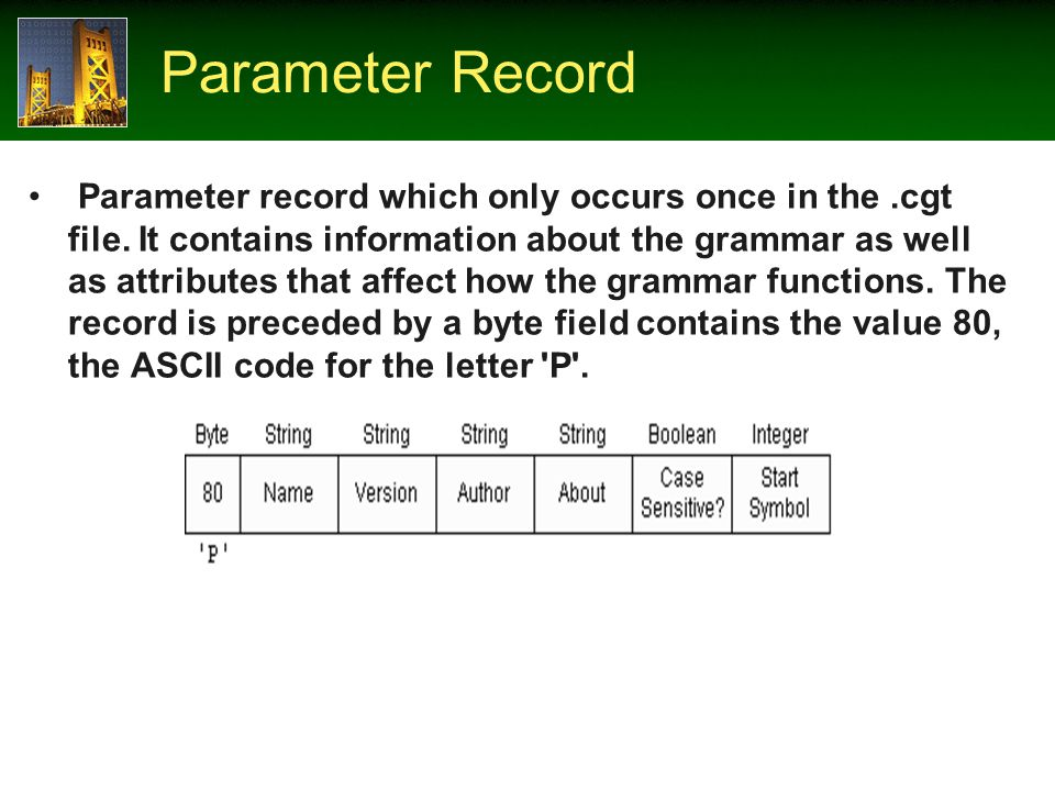 Parameter Record Parameter record which only occurs once in the.cgt file.
