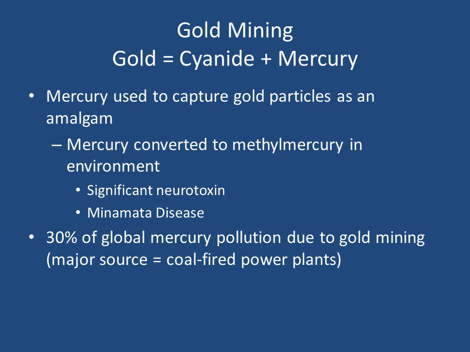 Gold Mining Gold = Cyanide + Mercury Mercury used to capture gold particles as an amalgam – Mercury converted to methylmercury in environment Significant neurotoxin Minamata Disease 30% of global mercury pollution due to gold mining (major source = coal-fired power plants)