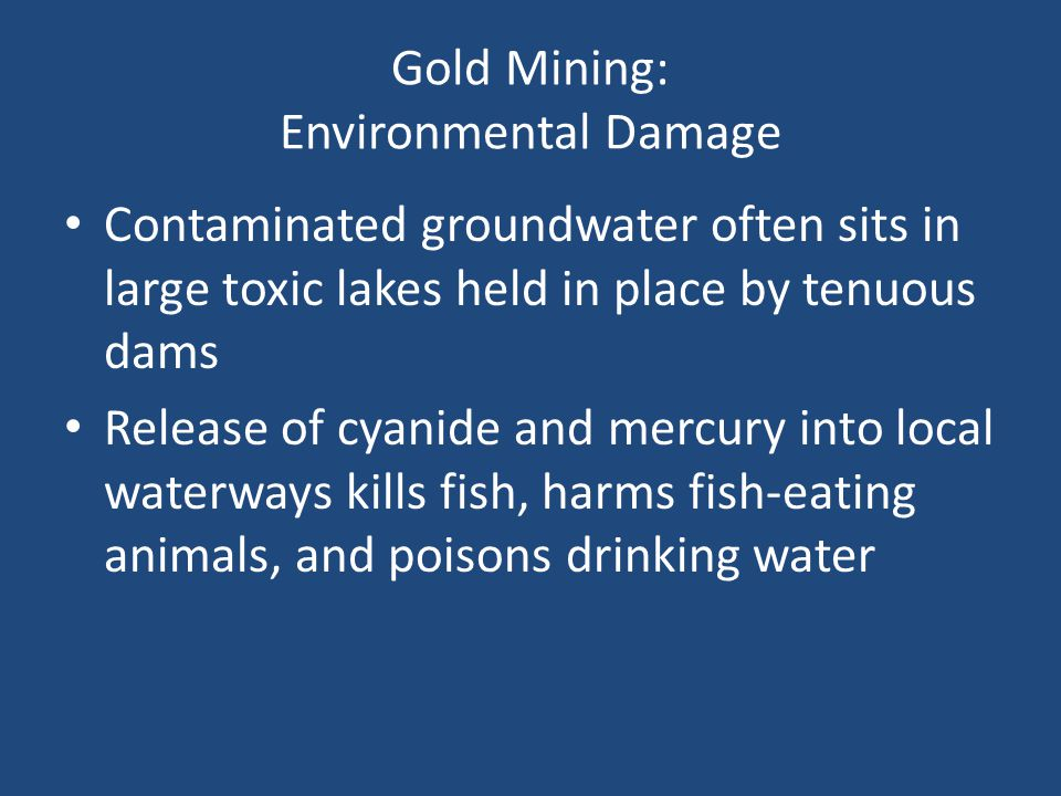 Gold Mining: Environmental Damage Contaminated groundwater often sits in large toxic lakes held in place by tenuous dams Release of cyanide and mercur