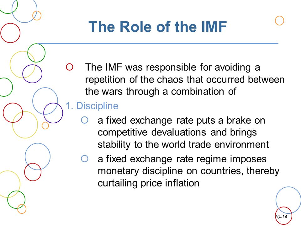 10-14 The Role of the IMF The IMF was responsible for avoiding a repetition of the chaos that occurred between the wars through a combination of 1. Di