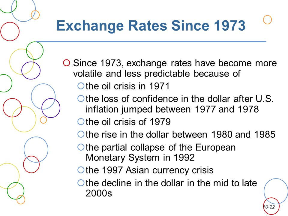 10-22 Exchange Rates Since 1973 Since 1973, exchange rates have become more volatile and less predictable because of the oil crisis in 1971 the loss o