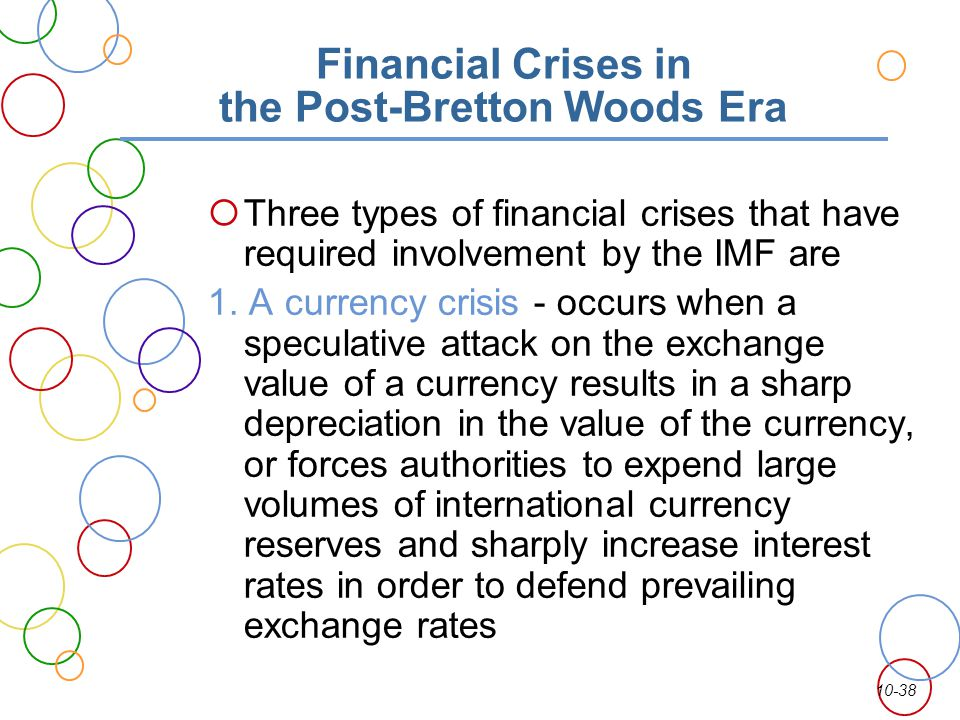 10-38 Financial Crises in the Post-Bretton Woods Era Three types of financial crises that have required involvement by the IMF are 1. A currency crisi