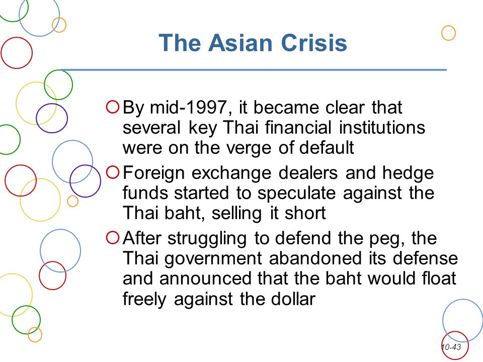 10-43 The Asian Crisis By mid-1997, it became clear that several key Thai financial institutions were on the verge of default Foreign exchange dealers