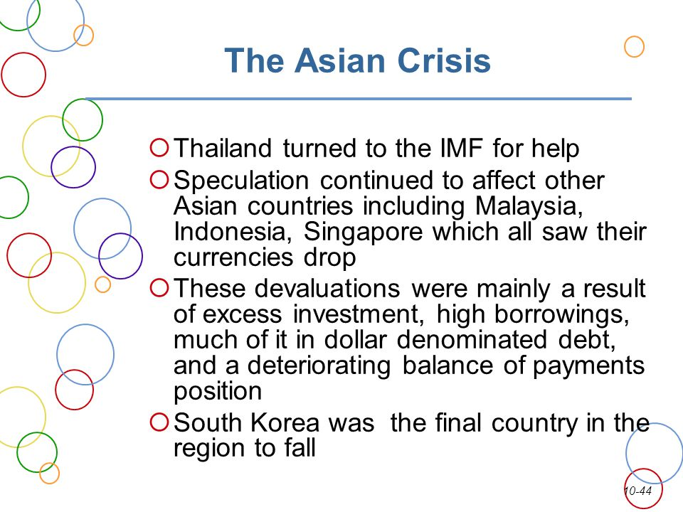 10-44 The Asian Crisis Thailand turned to the IMF for help Speculation continued to affect other Asian countries including Malaysia, Indonesia, Singap